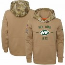 Men's New York Jets Khaki 2019 Salute to Service Therma Printed Pullover Hoodie