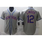 Men's New York Mets #12 Francisco Lindor Gray Cool Base Jersey