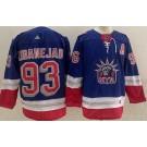 Men's New York Rangers #93 Mika Zibanejad Blue 2021 Reverse Retro Authentic Jersey