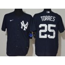 Men's New York Yankees #25 Gleyber Torres Navy Alternate Player Name 2020 Cool Base Jersey