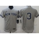 Men's New York Yankees #3 Babe Ruth Gray FlexBase Jersey