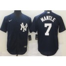 Men's New York Yankees #7 Mickey Mantle Navy Player Name Cool Base Jersey