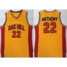 Men's OAK Hill High School #22 Carmelo Anthony Yellow College Basketball Jersey