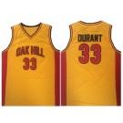 Men's OAK Hill High School #33 Kevin Durant Yellow College Basketball Jersey
