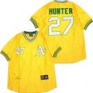 Men's Oakland Athletics #27 Catfish Hunter Yellow 1972 Throwback Jersey