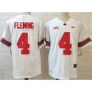 Men's Ohio State Buckeyes #4 Julian Fleming White College Football Jersey