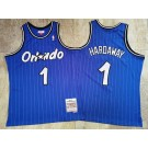 Men's Orlando Magic #1 Penny Hardaway Blue 1994 Throwback Authentic Jersey