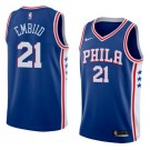 Men's Philadelphia 76ers #21 Joel Embiid Blue Icon Hot Press Jersey