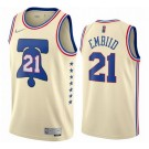 Men's Philadelphia 76ers #21 Joel Embiid Cream 2021 Earned Icon Hot Press Jersey