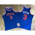 Men's Philadelphia 76ers #3 Allen Iverson Blue 1996 Throwback Authentic Jersey