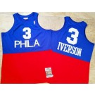 Men's Philadelphia 76ers #3 Allen Iverson Blue Red 2003 Hollywood Classic Authentic Jersey