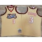 Men's Philadelphia 76ers #3 Allen Iverson Cream 1997 Throwback Authentic Jersey