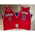 Men's Philadelphia 76ers #3 Allen Iverson Red 1996 Throwback Authentic Jersey