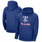 Men's Philadelphia 76ers Blue 2021 City Edition Essential Logo Fleece Pullover Hoodie