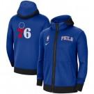 Men's Philadelphia 76ers Blue Showtime Performance Full Zip Hoodie Jacket