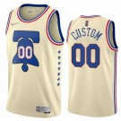 Men's Philadelphia 76ers Custom Cream 2021 Earned Icon Hot Press Jersey