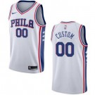 Men's Philadelphia 76ers Custom White Icon Hot Press Jersey