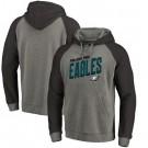 Men's Philadelphia Eagles Gray Slant Strike Tri Blend Raglan Pullover Hoodie