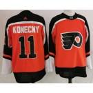 Men's Philadelphia Flyers #11 Travis Konecny Orange 2021 Reverse Retro Authentic Jersey