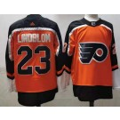 Men's Philadelphia Flyers #23 Oskar Lindblom Orange 2021 Reverse Retro Authentic Jersey