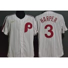 Men's Philadelphia Phillies #3 Bryce Harper White 2020 Cooperstown Collection Jersey