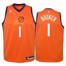 Men's Phoenix Suns #1 Devin Booker Orange Statement Icon Hot Press Jersey