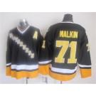 Men's Pittsburgh Penguins #71 Evgeni Malkin Black 1990s Throwback Jersey