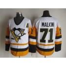 Men's Pittsburgh Penguins #71 Evgeni Malkin White Throwback Jersey