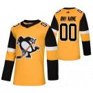 Men's Pittsburgh Penguins Customized Yellow Alternate Authentic Jersey