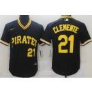 Men's Pittsburgh Pirates #21 Roberto Clemente Black Throwback Cool Base Jersey