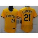 Men's Pittsburgh Pirates #21 Roberto Clemente Yellow FlexBase Jersey