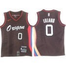 Men's Portland Trail Blazers #0 Damian Lillard Black Brown 2021 City Icon Swingman Jersey