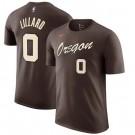 Men's Portland Trail Blazers #0 Damian Lillard Brown City Printed T Shirt 211008