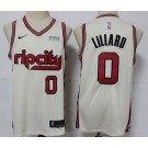 Men's Portland Trail Blazers #0 Damian Lillard Cream 2019 City Icon Sponsor Swingman Jersey