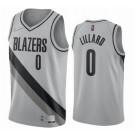 Men's Portland Trail Blazers #0 Damian Lillard Gray 2021 Earned Icon Hot Press Jersey