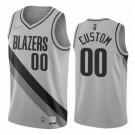 Men's Portland Trail Blazers Custom Gray 2021 Earned Icon Hot Press Jersey
