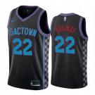 Men's Sacramento Kings #22 Richaun Holmes Black 2021 City Icon Hot Press Jersey