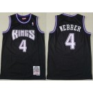 Men's Sacramento Kings #4 Chris Webber Black 1998 Throwback Swingman Jersey