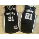 Men's San Antonio Spurs #21 Tim Duncan Black Retired Authentic Jersey