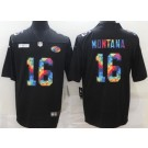 Men's San Francisco 49ers #16 Joe Montana Limited Black Crucial Catch Vapor Untouchable Jersey