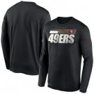 Men's San Francisco 49ers Black Sideline Impact Legend Performance Long Sleeves T Shirt 604