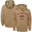 Men's San Francisco 49ers Khaki 2019 Salute to Service Therma Printed Pullover Hoodie