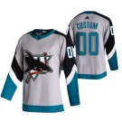 Men's San Jose Sharks Customized Gray 2021 Reverse Retro Authentic Jersey