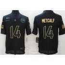 Men's Seattle Seahawks #14 DK Metcalf Limited Black 2020 Salute To Service Jersey