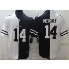 Men's Seattle Seahawks #14 DK Metcalf Limited Black White Split Jersey