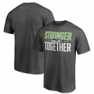 Men's Seattle Seahawks Heather Charcoal Stronger Together Printed T-Shirt 0732