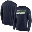 Men's Seattle Seahawks Navy Sideline Impact Legend Performance Long Sleeves T Shirt 633
