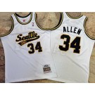 Men's Seattle Sonics #34 Ray Allen White 2005 Throwback Authentic Jersey