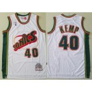 Men's Seattle Sonics #40 Shawn Kemp White 1995 Throwback Swingman Jersey