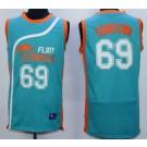 Men's Semi Pro Flint Tropses #69 Downtown Aqua Basketball Jersey